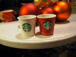 Starbucks, bank building, chai tea latte, christmas