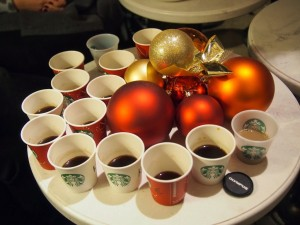 black coffee, Christmas blend, red cups