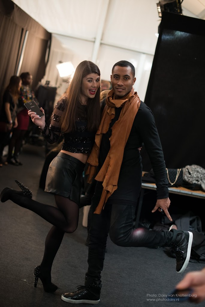 DJ Sunnery James and Fashion Blogger Fashionista Chloe backstage at Jan Boelo show