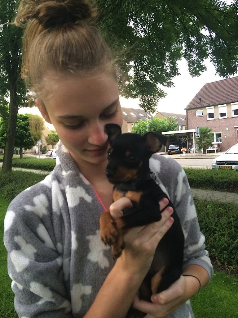 Model Lieke van Houten and her dog