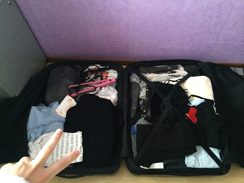 The suitcase of model Lieke van Houten before New York Fashionweek