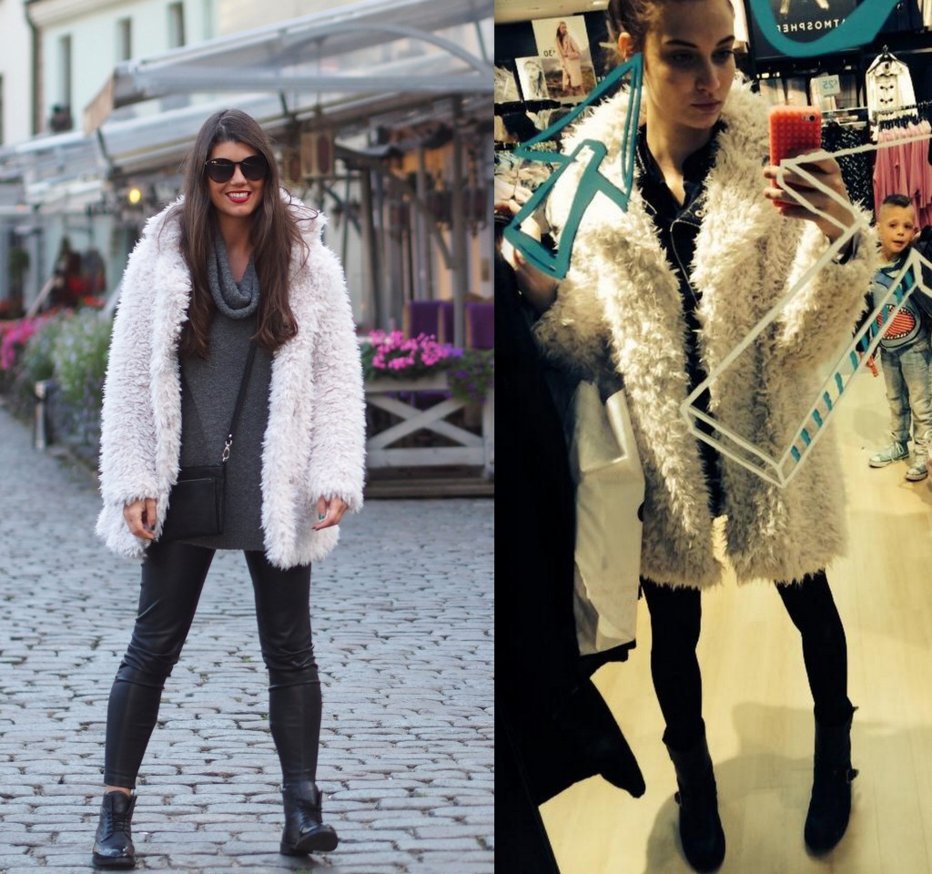 Lieke van Houten and furry coat Primark