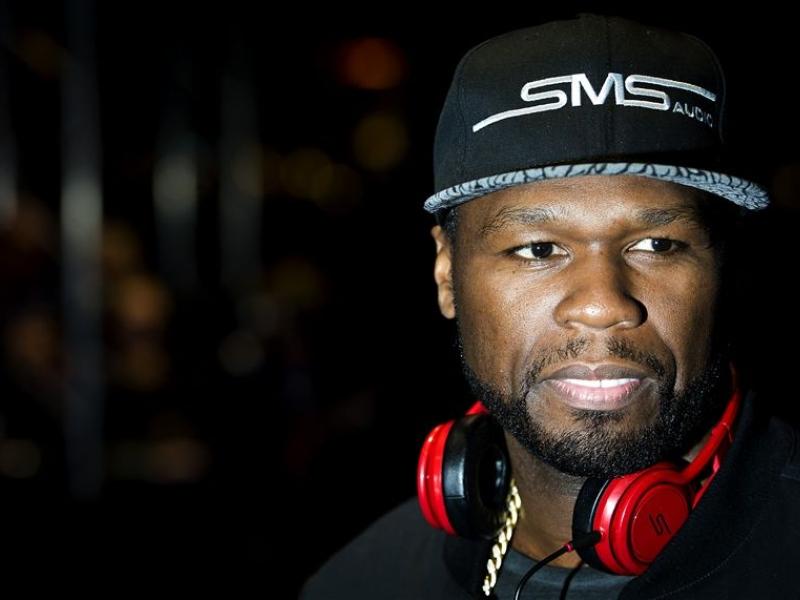 Rapper 50 cent at release party SMS Audio HMH Amsterdam (credits: Samuel van Leeuwen)