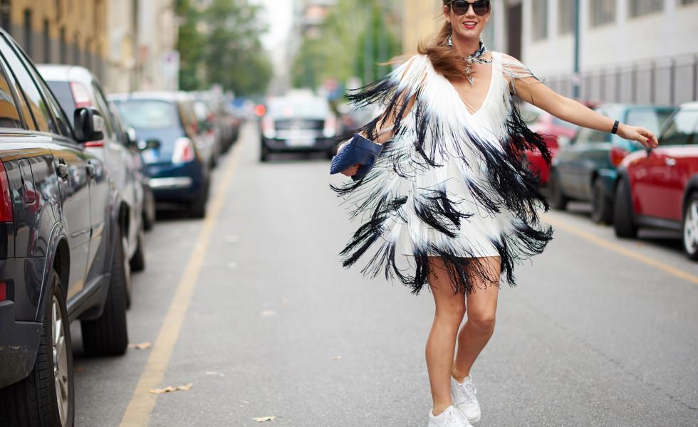 twirling around in MY ELISABETTA FRANCHI DRESS
