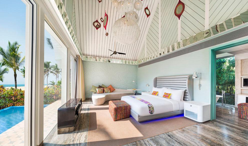 Een vakantie naar Goa, Noord India - kamers in W Goa resort op Vagator Beach India