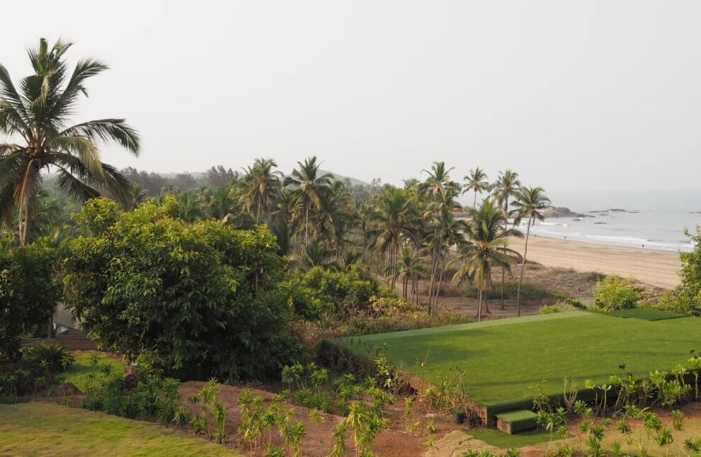 Noord Goa  is de party bestemming van India, Dit is Vagator beach vanaf W Goa India