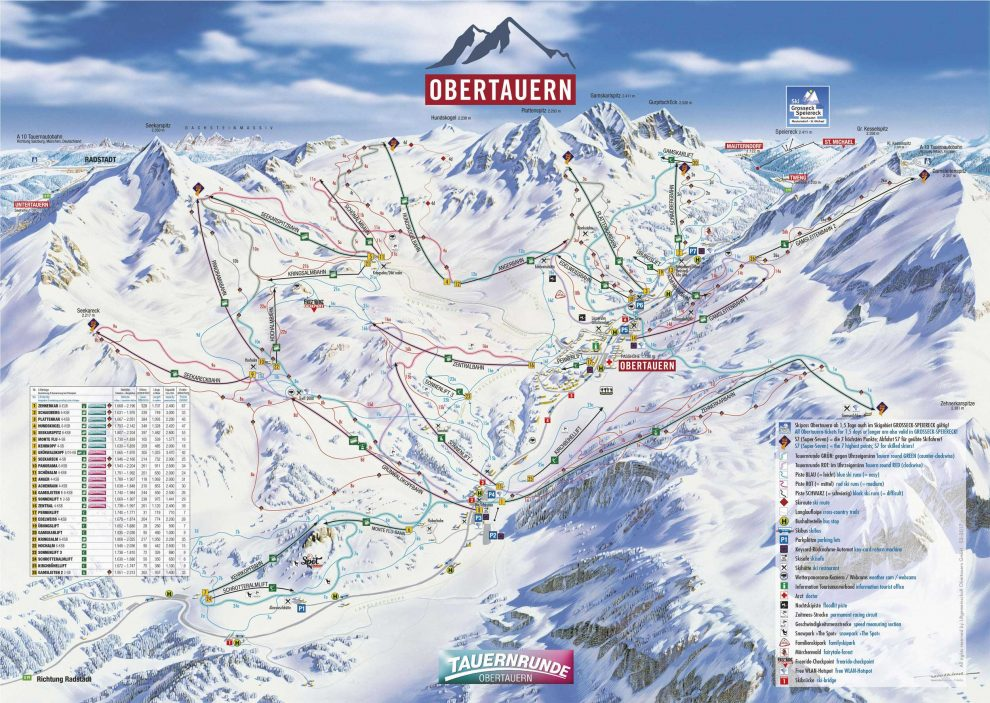 skikaart skimap Obertauern Skien in Obertauern Oostenrijk