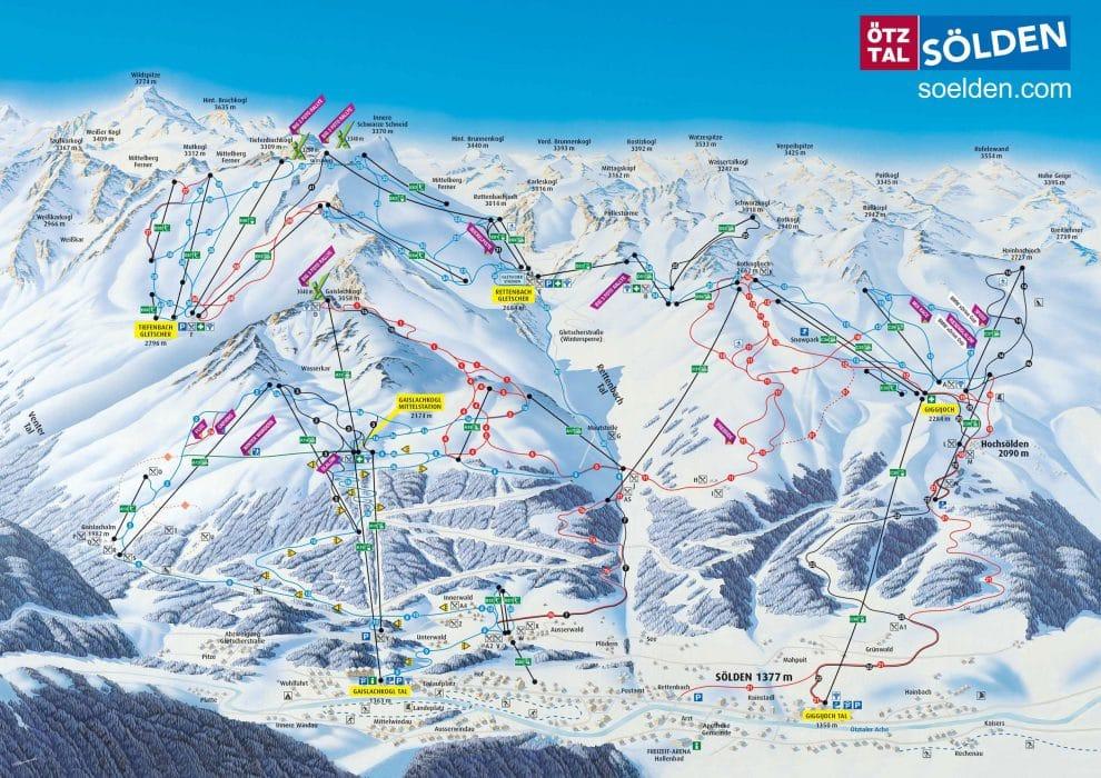 Pistekaart van Sölden Otztal 25 feiten over skien in Sölden