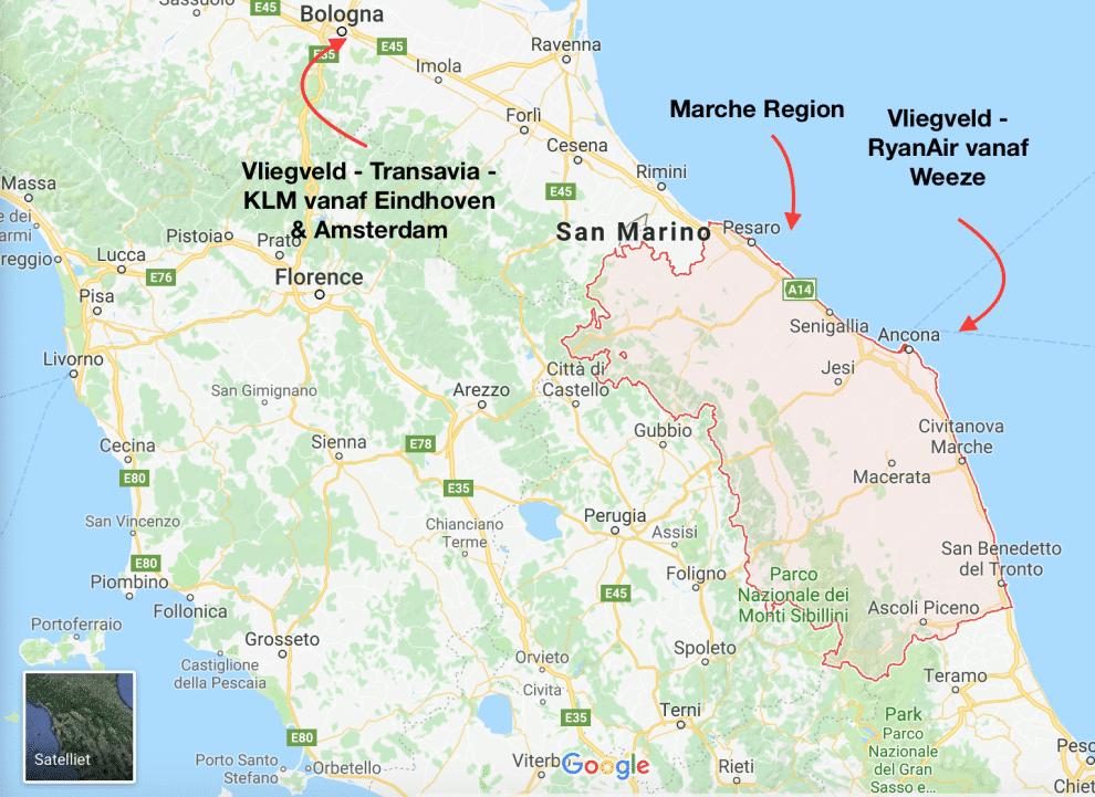 vliegen naar Marche regio Italie kaart Le Marche/De Marken Regio