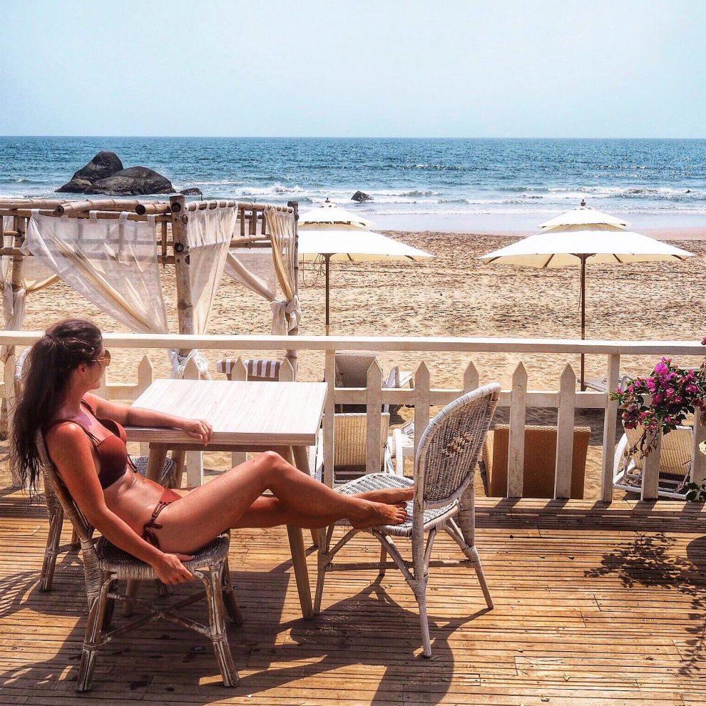 Agonda beach Zuid Goa. Genieten van het uitzicht bij The White Goa. Een vakantie naar Goa India
