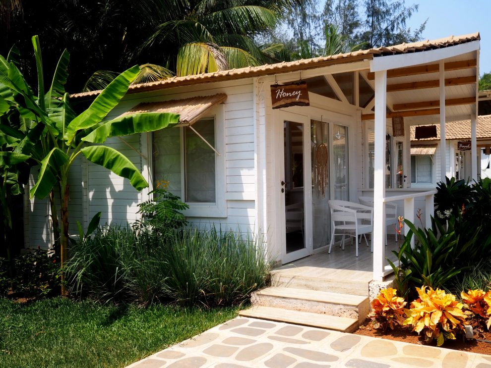 Agonda beach Zuid Goa. Accommodaties en kamers bij The White Goa. Een vakantie naar Goa India