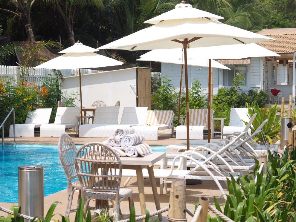 Agonda beach Zuid Goa. Zwembad The White Goa. Een vakantie naar Goa India