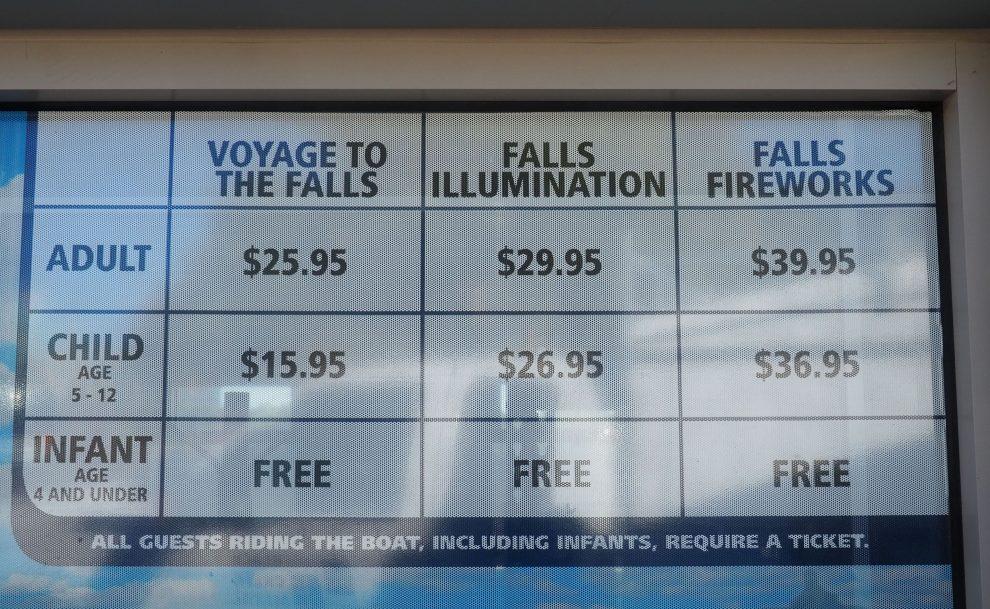 een bezoek aan de Niagara watervallen, tips. boottocht langs de Niagara watervallen. Prijzen voor een boottocht Niagara Falls