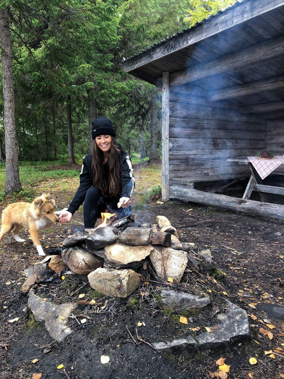 Vakantie in de wildernis van Zweden - lunchen in de wildernis van Zweden, Vildmarksvägen, Wilderness Road Zweden, op vakantie in Jamtland.