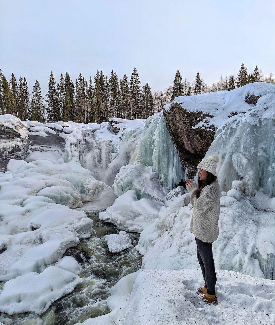 Ristafallet, mooiste waterval Zweden, 8x doen en winter tips voor Åre en Östersund in Jämtland Zweden.