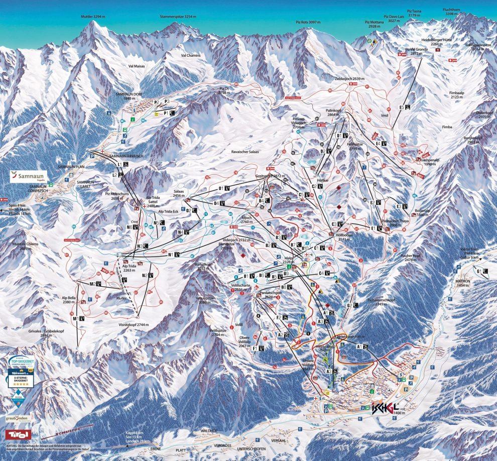 Ischgl ski - wintersport tips - Samnaun - wintersport map - skien in Oostenrijk en Zwitserland - skimap - pistemap ischgl