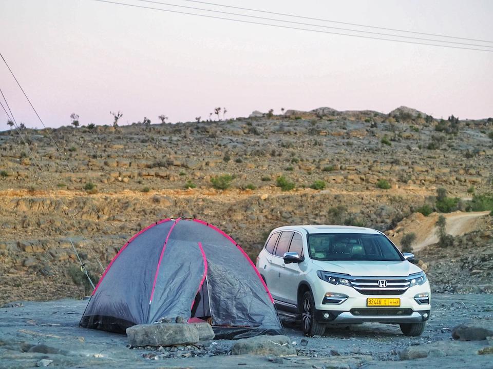 Jebel Shams, Balcony Walk - de bezienswaardigheden en beste reisroute voor 9 dagen.  Kamperen in het wild in Oman