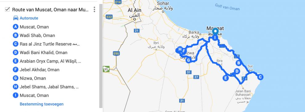 kaart rondreis Oman - de bezienswaardigheden en beste reisroute voor 9 dagen.