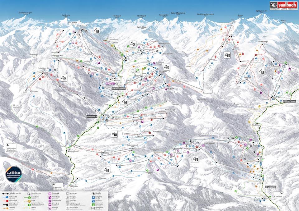 Wintersport Saalbach - Hinterglemm 2020 - Ski Alpin Card - pistekaart