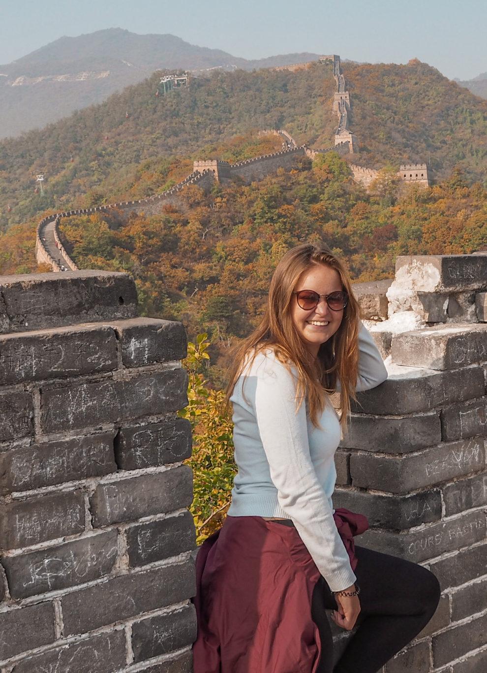 Marit van Groen op wereldreis bij de Chinese Muur