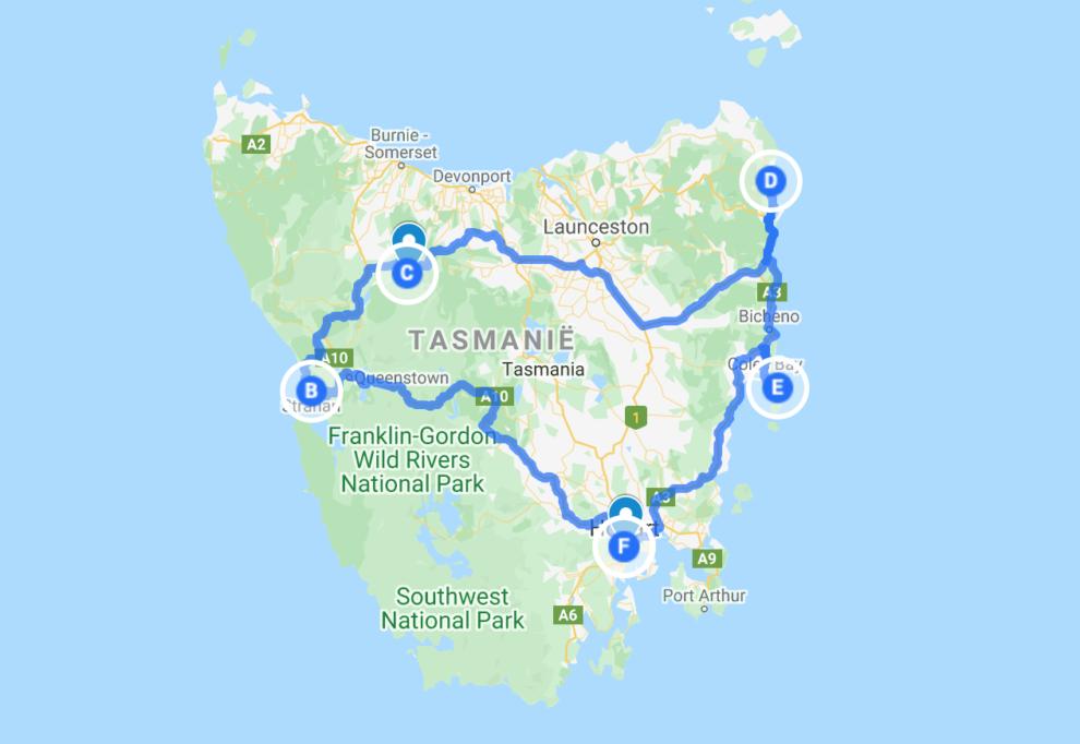 Rondreis Tasmanië op een kaart - route voor 9 dagen, Hobart, Strahan, Cradle Mountain, Bay of Fires, Freycinet National Park.
