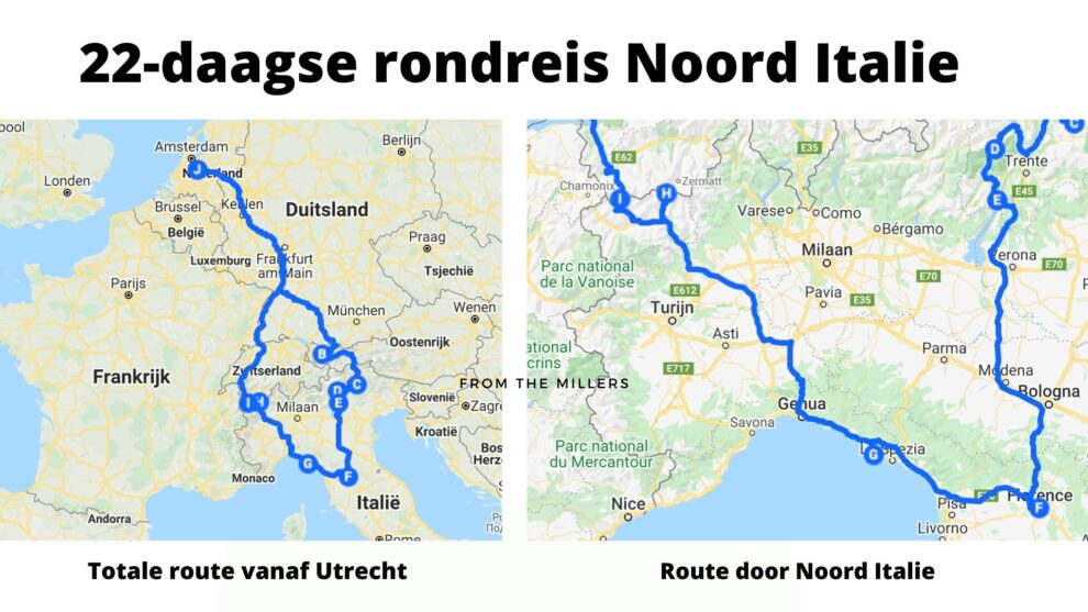 Noord Italie roadtrip route van Nederland naar Italie tips