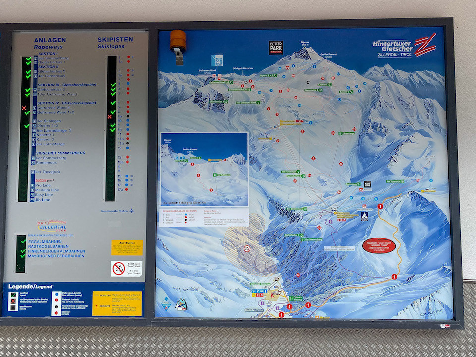 skigebied hintertuxer gletsjer zomer skien