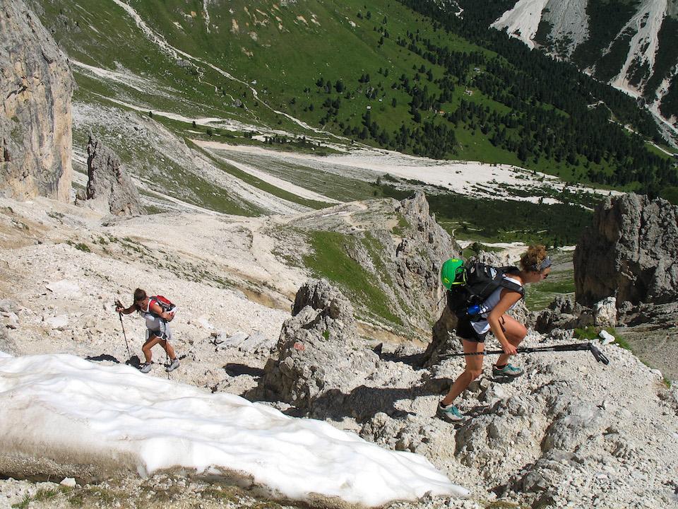 Passo Jouf da le Zigolade - Rosengarten huttentocht hiken in de dolomieten