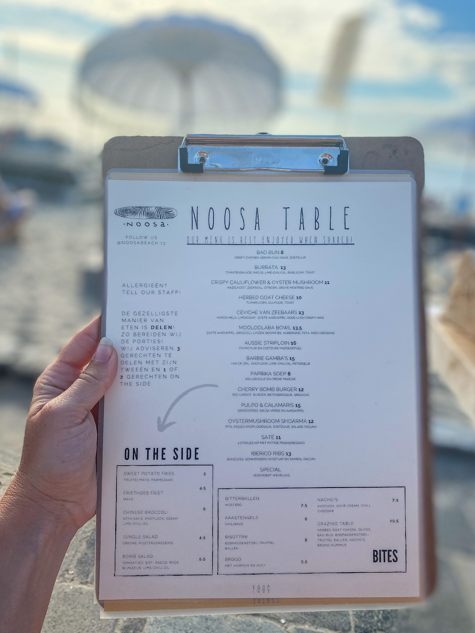 Menu Noosa Beach - ontbijt, lunch en diner