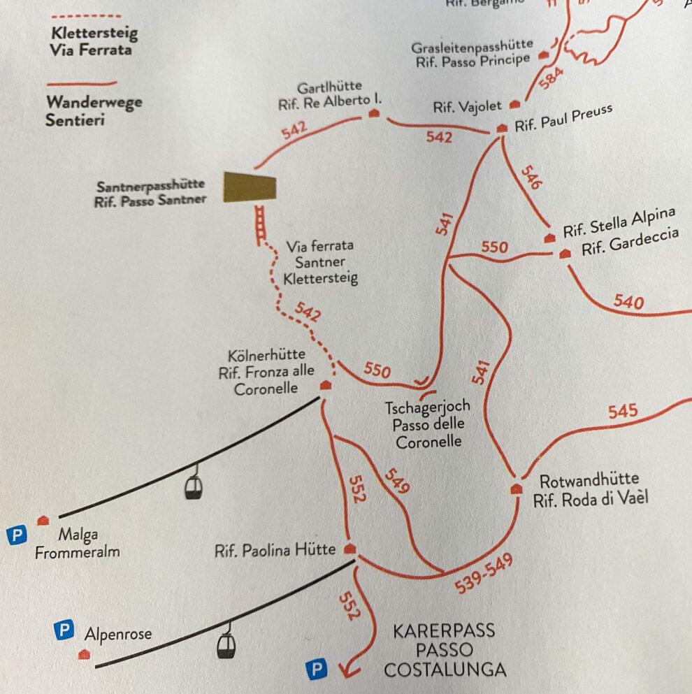 Huttentocht in de Dolomieten route