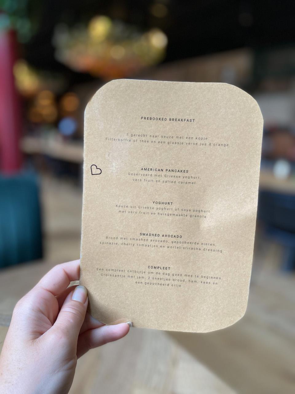 restaurant Bunk Amsterdam menu kaart