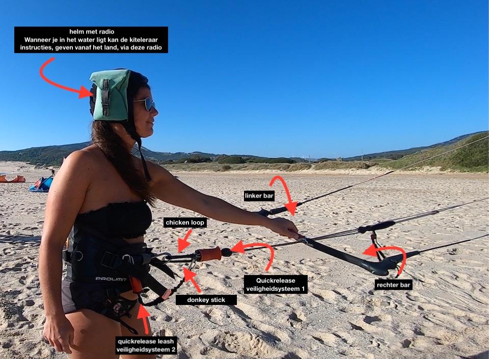 Veiligheid tijdens je eerste les - afbeelding uitleg van quickrelease - leash, chicken loop, donkey stick
