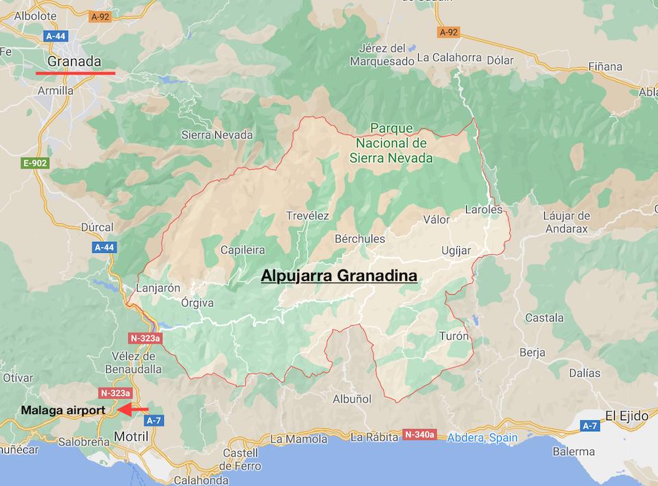 Alpujarras kaart / map - Alpujarra Granadina