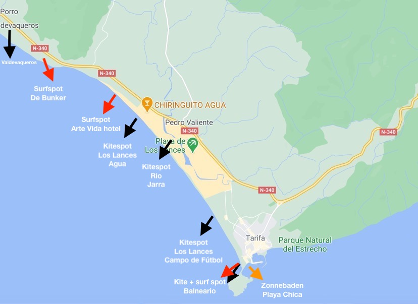 kitesurf spots in Tarifa - map  - kaart Tarifa