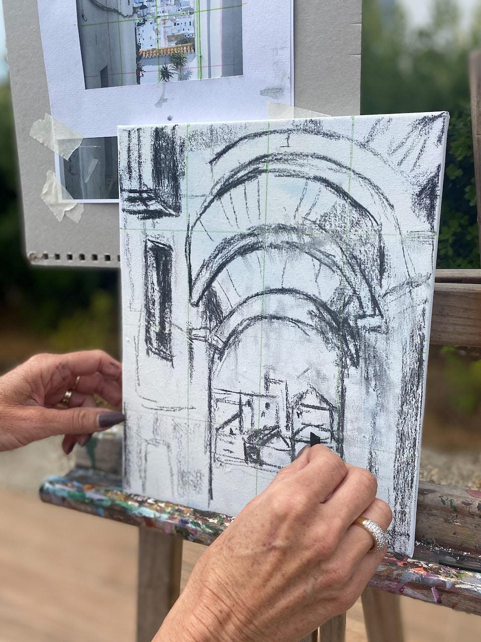 leren schilderen - schets op het schildersdoek