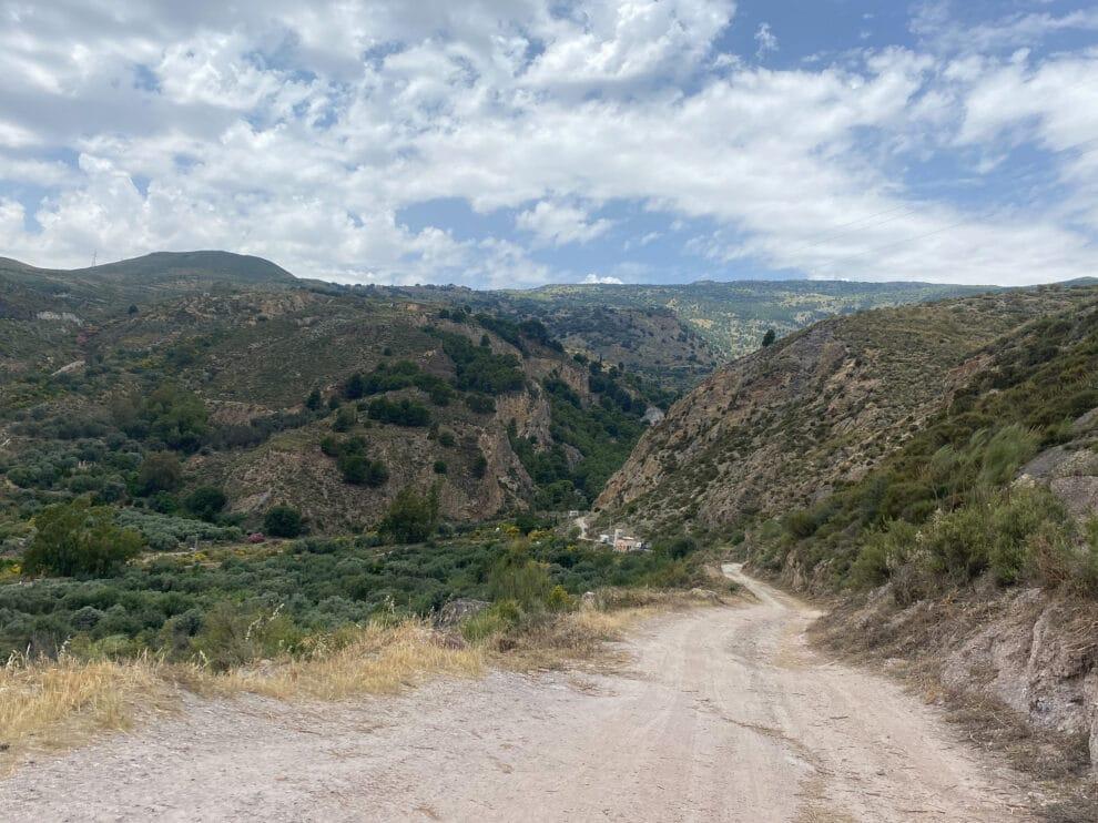 route naar Beneficio, zandpad vanaf Orgiva